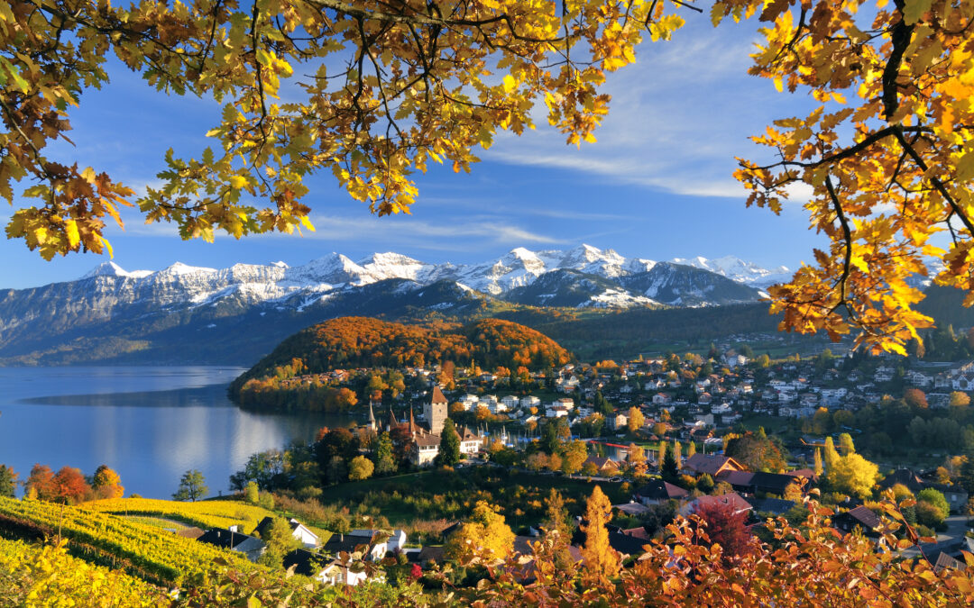 Berner Oberland – Ferne Schneespitzen im Sonnenschein